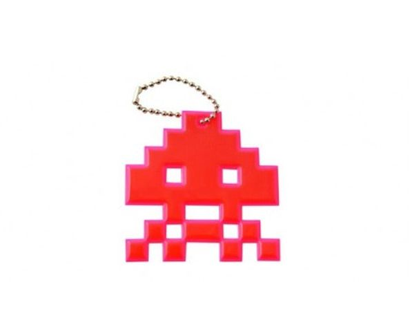 Space invaders skull rose fluo - Porte-clés