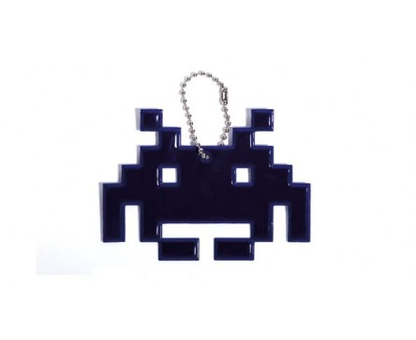 Space invaders spider bleu - Porte-clés