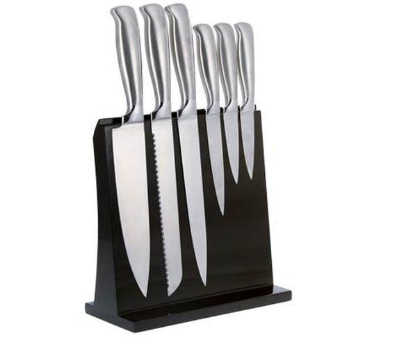 Porte-couteaux magnétique noir avec 5 couteaux