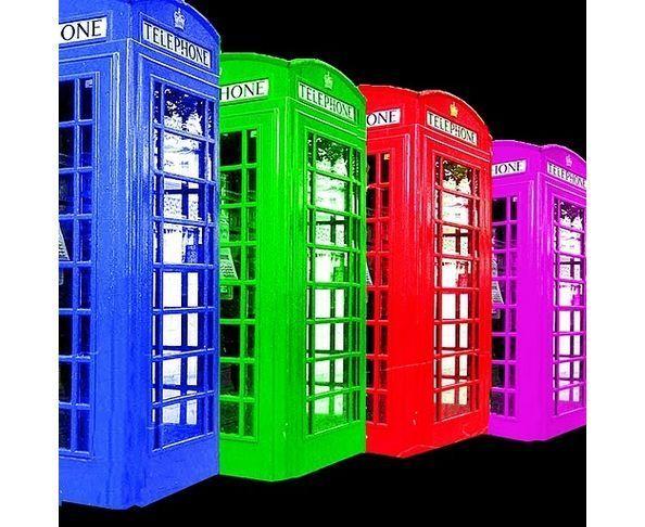 Tableau plexiglas London 4 Cabines Multicolores