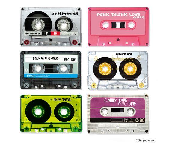 Tableau 50x50 cm - Audio Tape Blanc