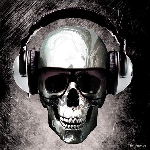 Tableau 50x50 cm - Groovy Skull Noir