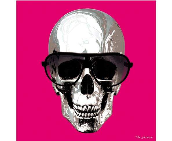 Tableau 50 x 50 skull Rose