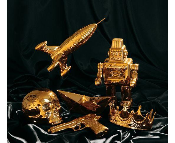 Pistolet en or et porcelaine  - Seletti