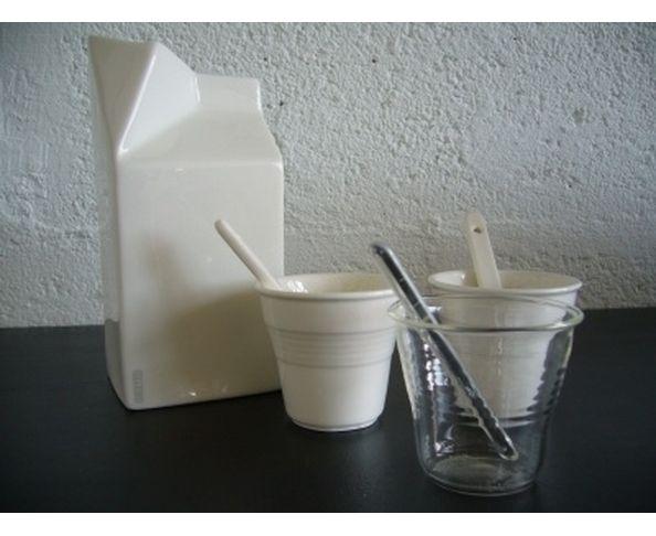 Tasses à café + cuillères en verre Seletti, par 6