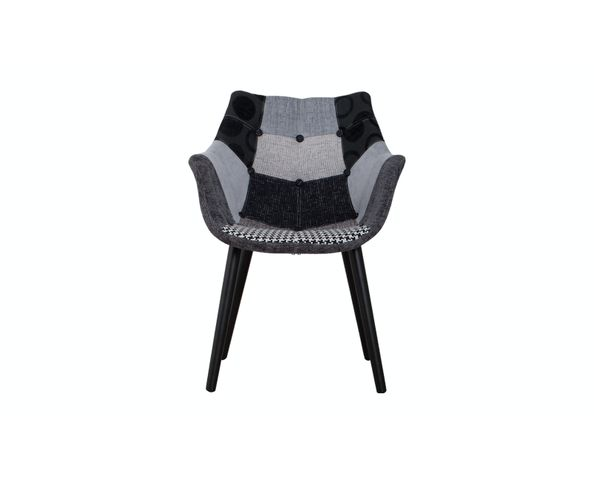 Chaise Eleven Patchwork Grise (pieds noirs) - Zuiver