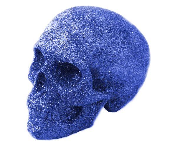 Crane à paillettes, tête de mort bleu foncé