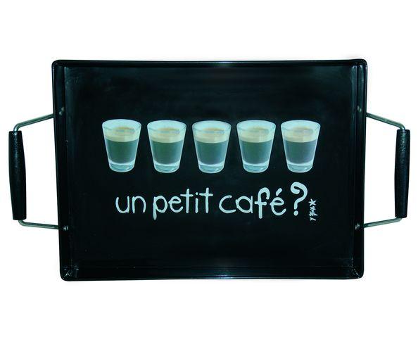 Plateau métal - Un petit café - Noir