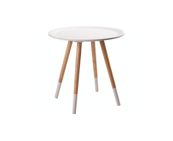 "Table d'appoint ""Two Tone"" blanche et bois - Zuiver"