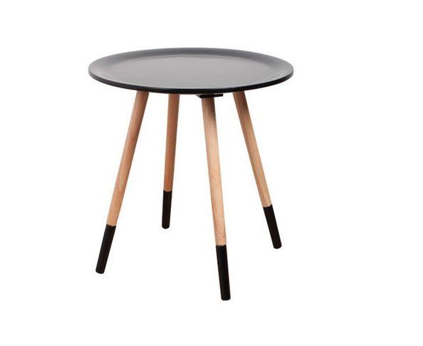 """Table d'appoint """"Two Tone"""" grise foncée et bois - Zuiver"""