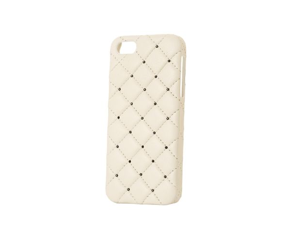 Coque iPhone5 Cuir - WHITE LEATHER BLACK SWAROVSKI - 2ME STYLE