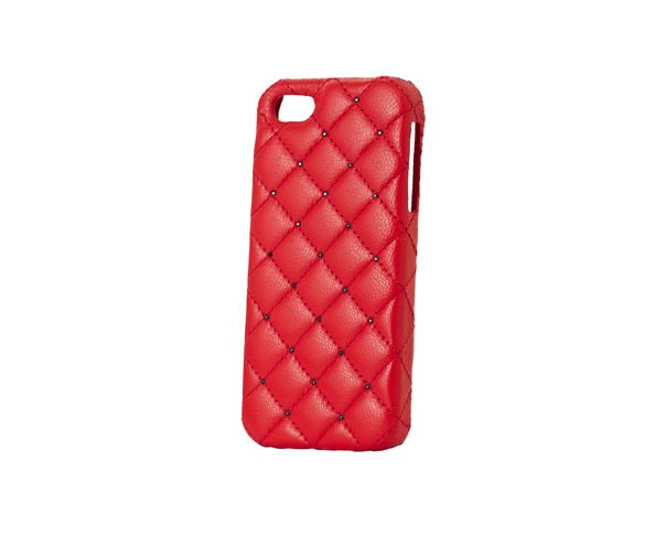 Coque iPhone5 Cuir - RED LEATHER BLACK SWAROVSKI - 2ME STYLE