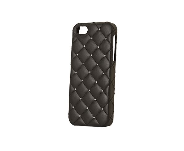 Coque iPhone5 Cuir - BLACK LEATHER WHITE SWAROVSKI - 2ME STYLE