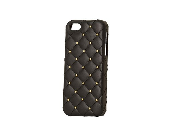 Coque iPhone5 Cuir - BLACK LEATHER GOLD STUDS - 2ME STYLE