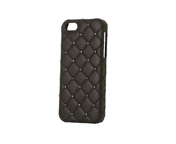 Coque iPhone5 Cuir - BLACK LEATHER BLACK STUDS - 2ME STYLE