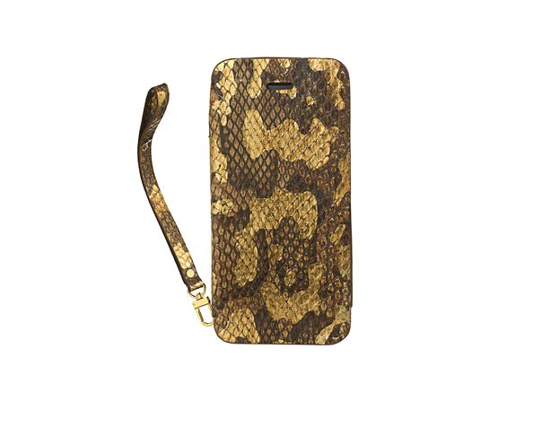 Coque iPhone5 en cuir gold pochette phyton leaf - 2ME STYLE