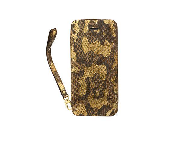 Coque iPhone5 en cuir gold pochette phyton leaf - 2ME STYLE