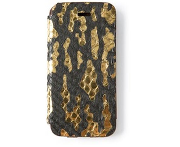 Coque iPhone5 en cuir Phyton black and gold - 2ME STYLE