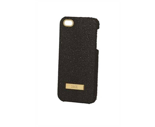 Coque iPhone5 Swarovski - CRYSTAL FABRIC BLACK, GOLD FINISHING - 2ME STYLE