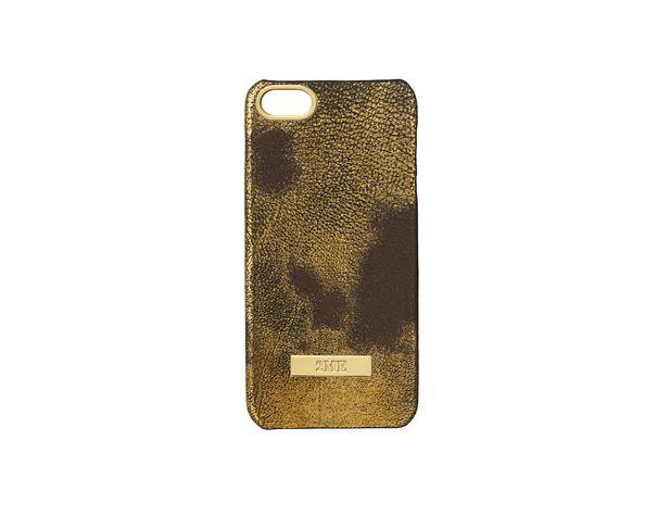 Coque iPhone5 en cuir finition Cow dorée - 2ME STYLE