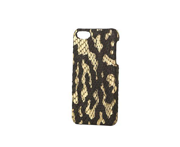 Coque iPhone5 en cuir phyton finition noir et dorée - 2ME STYLE