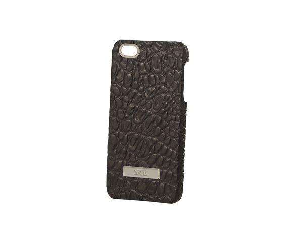 Coque iPhone5 en cuir croco noir finition argentée - 2ME STYLE