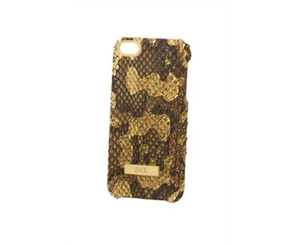 Coque iPhone5 en cuir phyton leaf finition dorée - 2ME STYLE