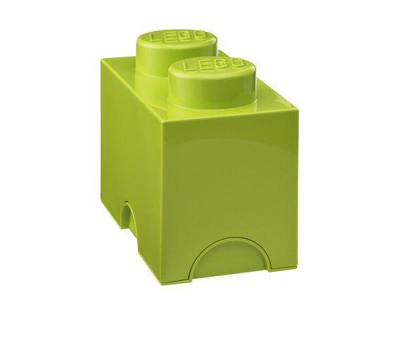 Boite de rangement Lego Vert 2 plots