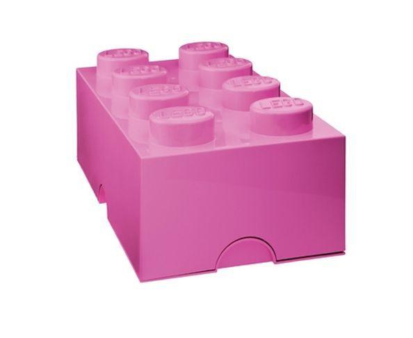 Boite Lego Rose rangement 8 plots