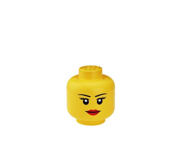 Tête Lego Fille Boite de rangement - Jaune Petit Modèle