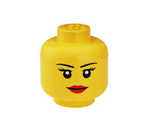 Tête Lego Fille Boite de rangement - Jaune Grand Modèle