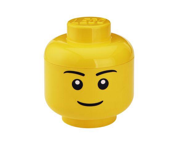 Tête Lego Garcon Boite de rangement - Jaune Grand Modèle