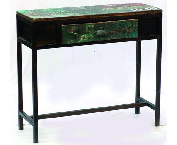 Bureau Console Loft en bois peint et métal
