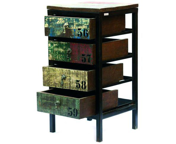Commode Loft 4 tiroirs en bois peint et métal