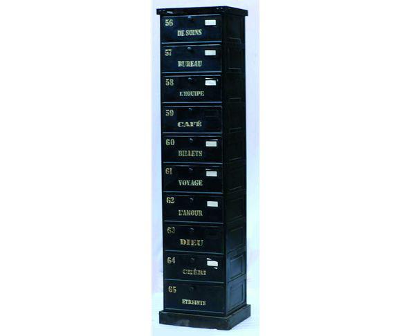 Colonne de rangement Loft 10 tiroirs en bois peint et métal
