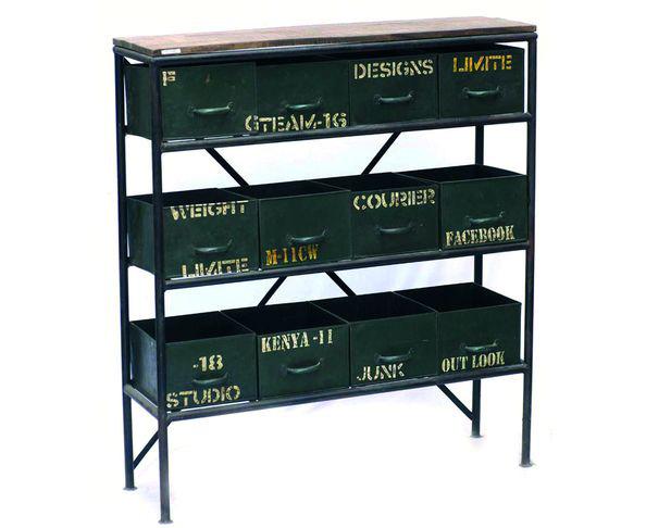Console Loft 12 tiroirs en bois peint et métal
