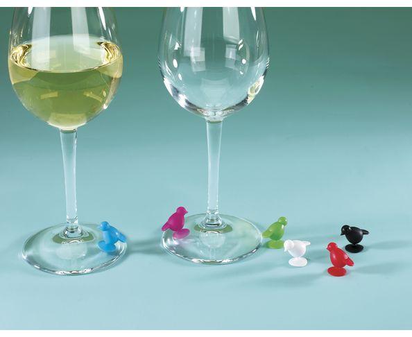 Décoration de verres à vin petits oiseaux