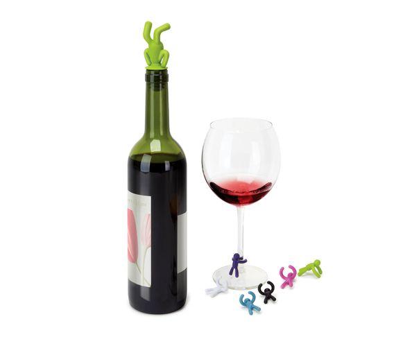 Décoration de verres à vin Buddy et bouchon