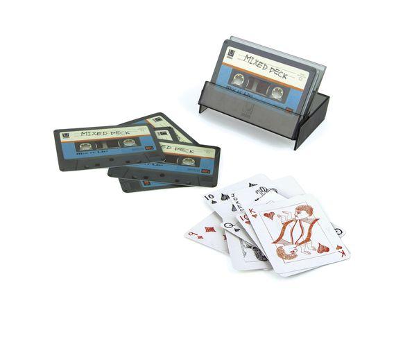 Jeu de cartes en forme de cassette Bleu