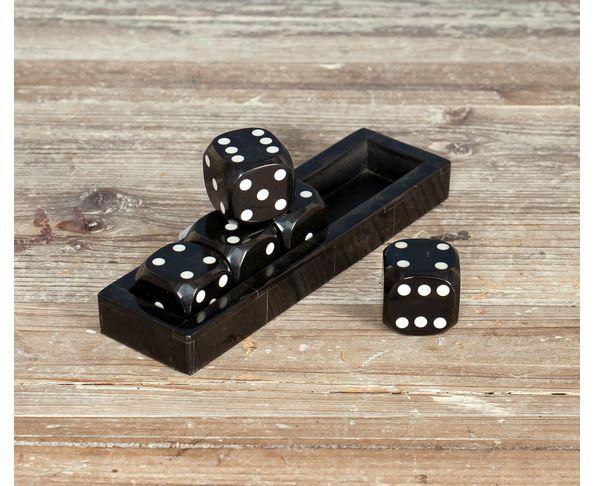 Petit jeu de 5 dés noir et boîte de rangement - Chehoma