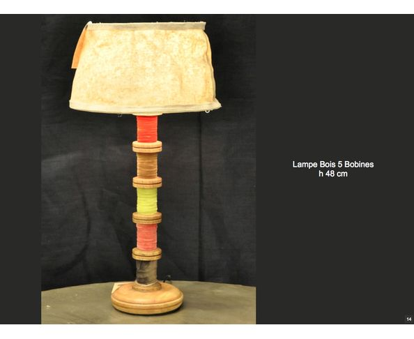 Lampe bois 5 bobines de ruban - Chehoma