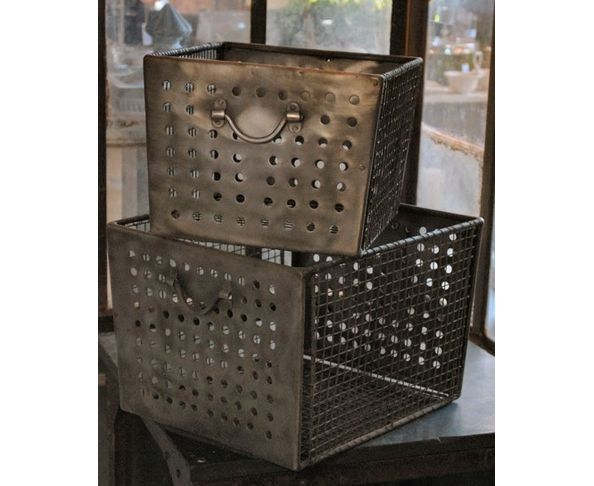 Bacs métal grillagé, set de 2 - Chehoma