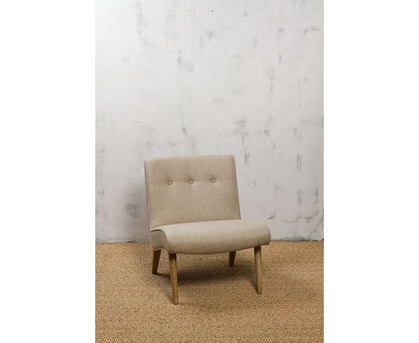 Fauteuil en lin beige et pieds en bois - Chehoma