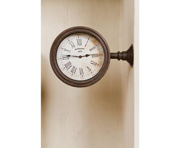 Horloge de magasin en métal patiné - Chehoma