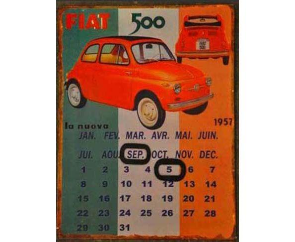Calendrier perpétuel Fiat 500 - Chehoma