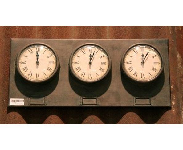 Horloges métal trois cadrans Chehoma