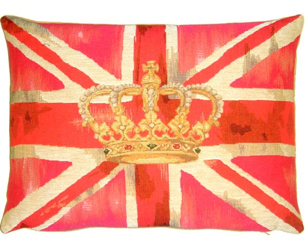 Coussin Union Jack Vintage Crown Rose