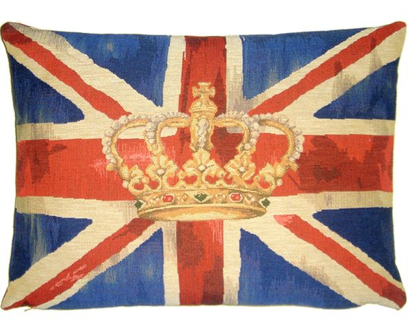 Coussin Union Jack Vintage Crown Blue