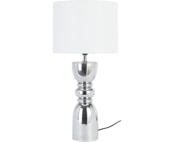 Lampe Quille Nickel et abat jour Blanc - Athezza
