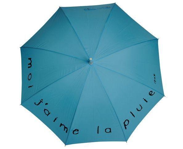 """Parapluie """"Moi j'aime la pluie"""" Turquoise"""